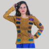 Mix color patches women's t-shirt (Brown)