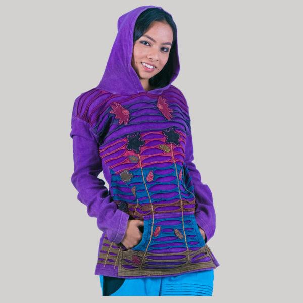 Symmetrical razor cut women's jacket (Purple)