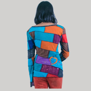 Women's jersey t-shirt with mix color patches