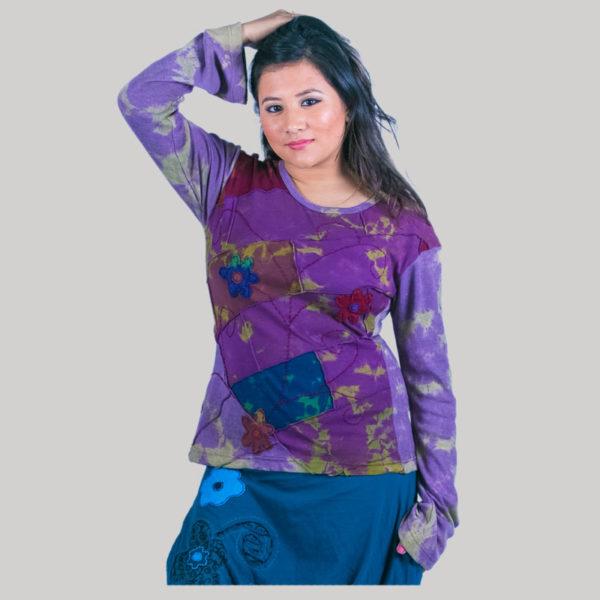 Mix patches ti-dye women's t-shirt (Purple)