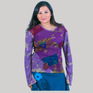 Mix patches ti-dye women's t-shirt (Purple)