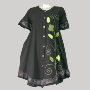 Dress jersey with flower hand work with gather