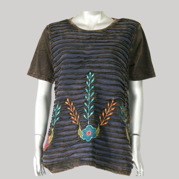 Dress jersey with razor & flower embroidery.