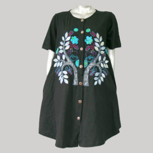 Dress jersey with tree motive embroidery with hand work