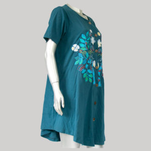 Dress jersey with tree motive embroidery