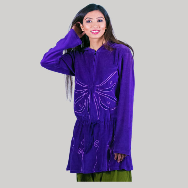 Frock jacket with embroidery stitches (Purple) side