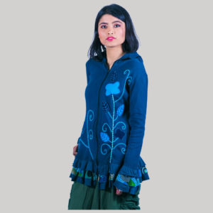 Women long rib jacket with embroidery flower stitches