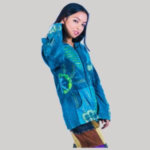 Women embroidery stitch razor cut patches jacket