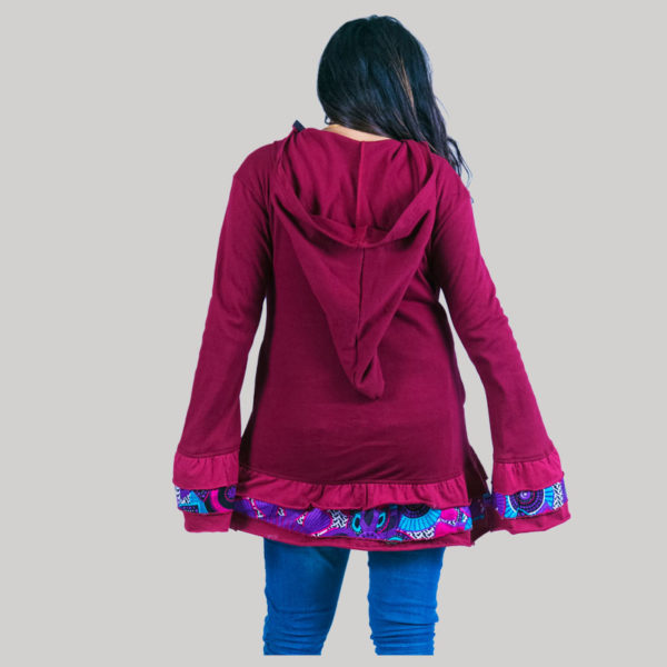 Women rib jacket with flower motif hand work