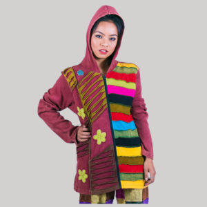 Asymmetrical razor cut multi color patches rib jacket