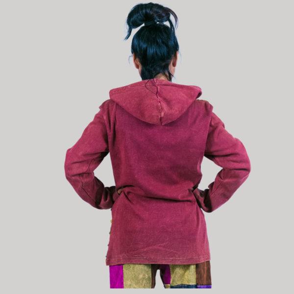 Asymmetrical razor cut multi color patches rib jacket