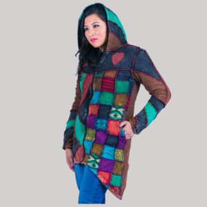 Multi color patches rib jacket with polar lining stone washed