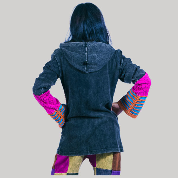 Razor cut multi color hand work patches jacket