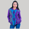 Rib hand work jacket with stone wash (Purple)