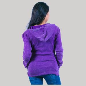 Rib hand work jacket with stone wash (Purple)