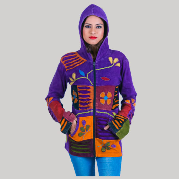 Asymmetrical razor cut women's jacket (Purple)