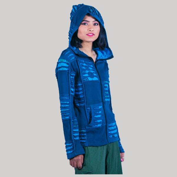 Asymmetrical razor cut women's jacket with long hood (Petrol)