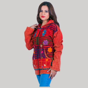Symmetrical razor cut women's jacket (Orange)