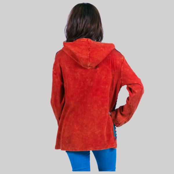 Symmetrical razor cut women's jacket (Orange)