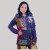 Women's asymmetrical razor cut velvet patches jacket (Byzantium)
