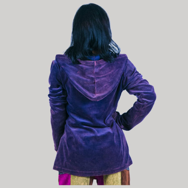 Women's asymmetrical razor cut velvet patches jacket (Byzantium)