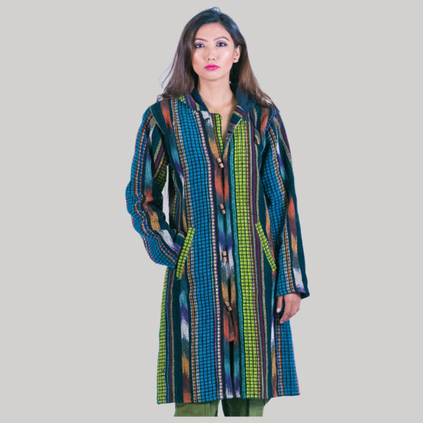 Women's long jacket with polar lining