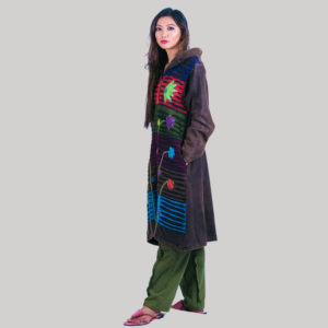 Symmetrical razor cut women's long jacket with hand work (Brown)