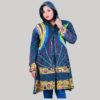 Women's long cotton fleece jacket (Dark Blue)