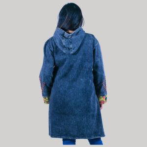 Women's long cotton fleece jacket (Dark Blue)