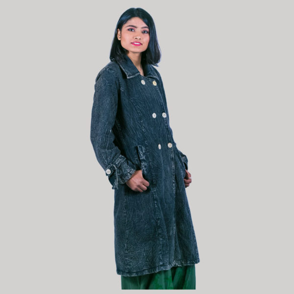 Women's hand loom long jacket with polar lining