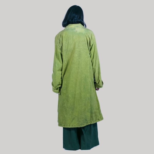 Hand loom women's long jacket with hand work (Olive Green)