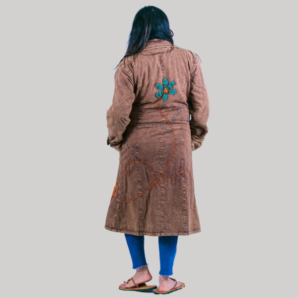 Hand loom women's long jacket (Brown)