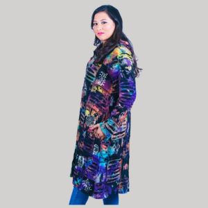 Asymmetrical razor cut women's long jacket
