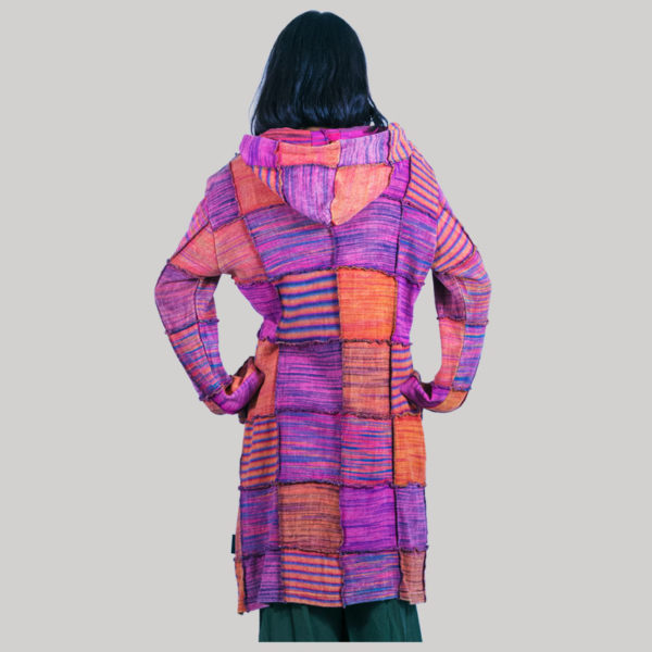 Women's long knitted cotton jacket