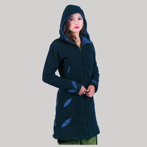 Contrast decorate women's long jacket (Dark Blue)