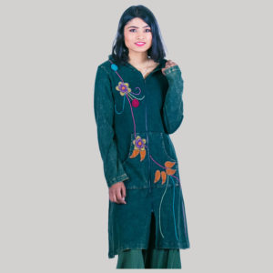 Women's long rib jacket with flower hand work (Teal)