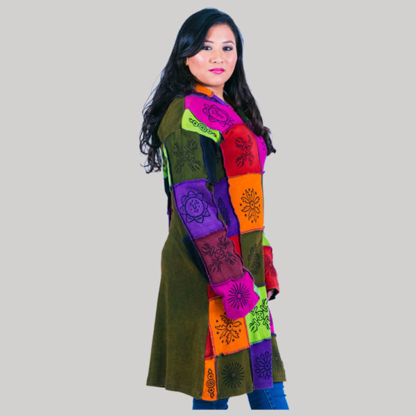 Women's long pointed hood jacket with mix color patches (Olive Green)