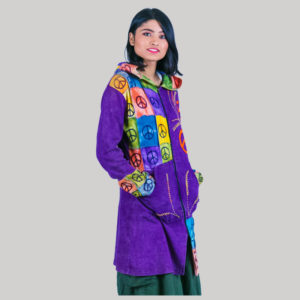 Block print women's long jacket (Purple)
