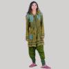 Women's long stone wash jacket (Olive Green)