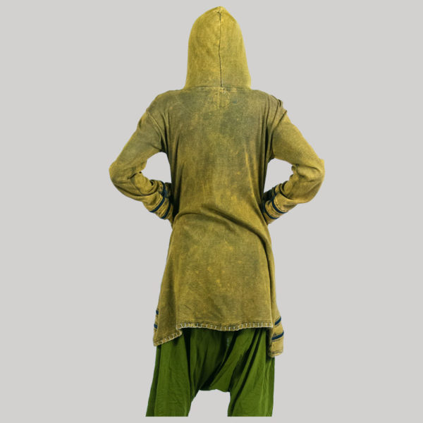 Women's long stone wash jacket (Olive Green)