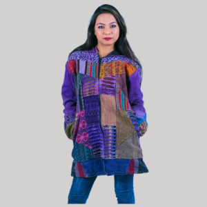 Asymmetrical patches women's long jacket (Purple)