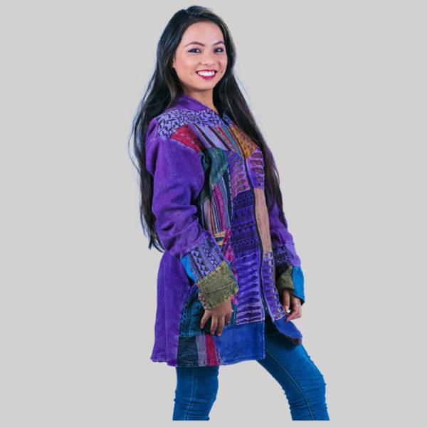 Asymmetrical patches women's long jacket (Purple)