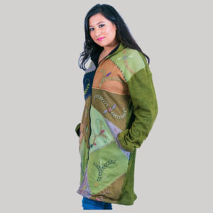 Women's long rib jacket(Olive Green)