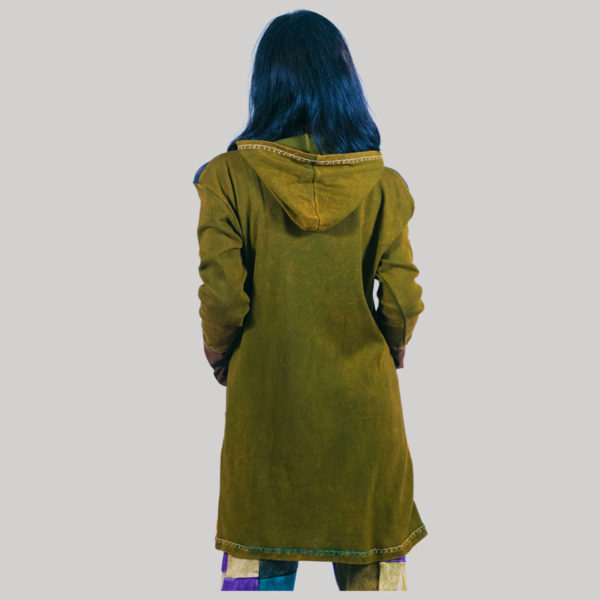 Women's long rib jacket with block print (Olive Green)