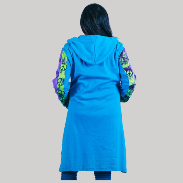 Women's long rib jacket with stone wash (Sky Blue)
