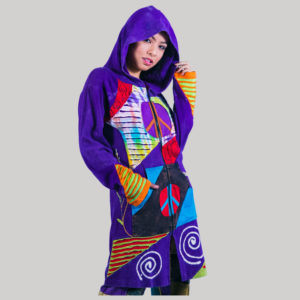Asymmetrical razor cut women's long jacket (Purple)