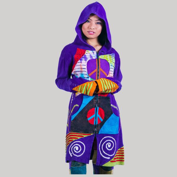 Asymmetrical razor cut women's long jacket (Purple)