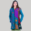 Women's long asymmetrical patches jacket (Teal)