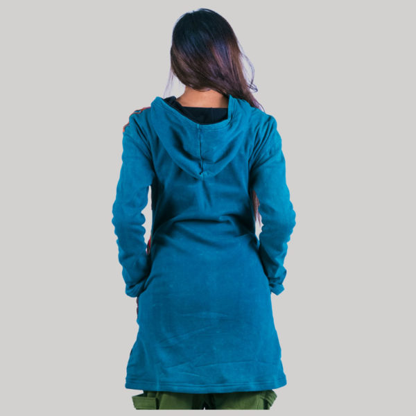 Women's long asymmetrical patches jacket (Teal)
