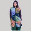 Leaf hand work women's long jacket (Denim)